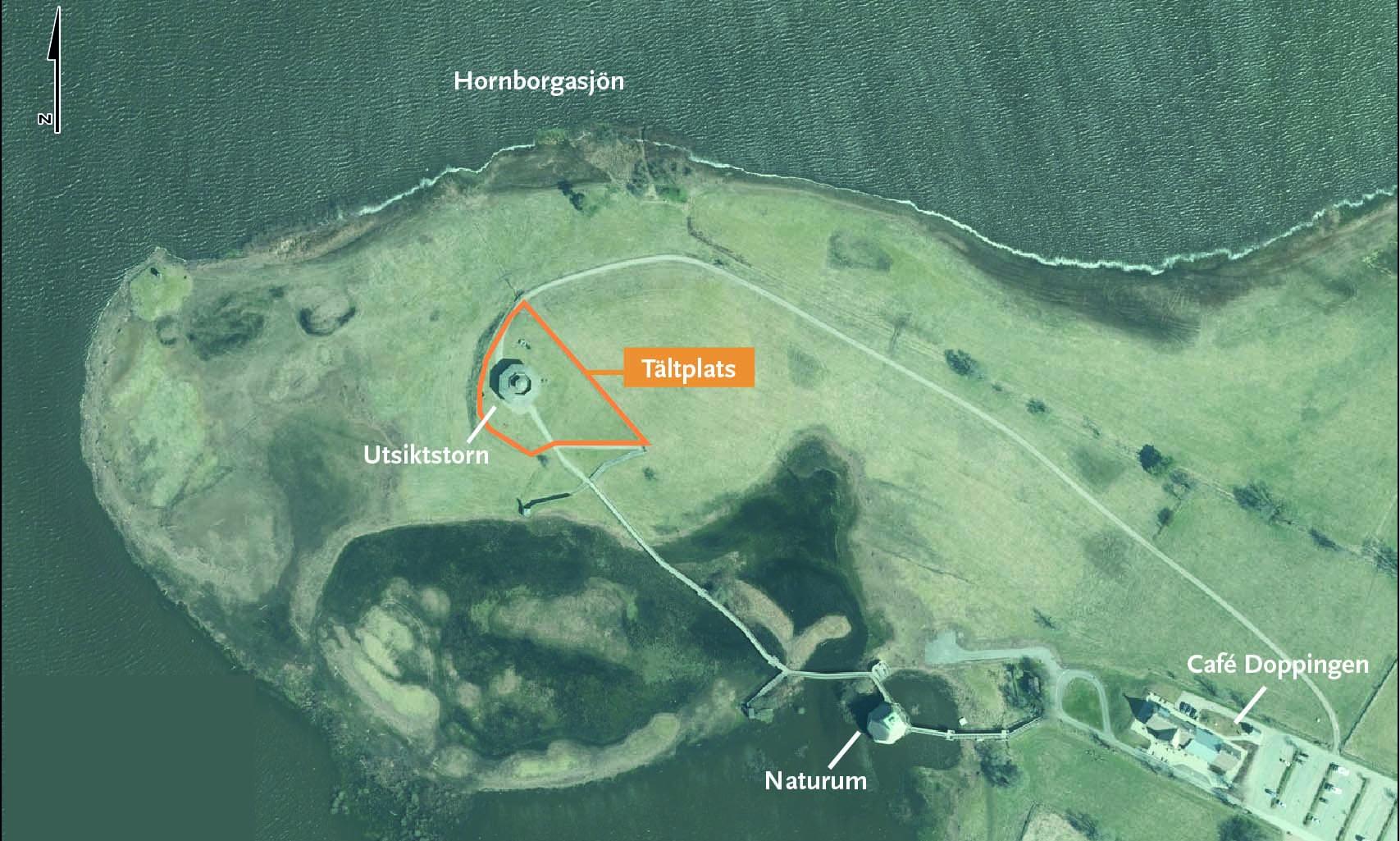 Karta över tältplatsen vid Fågeludden på östra sidan av Hornborgasjön. Karta.