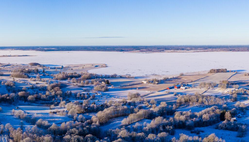 Winter view over Lake Hornborga. Photo.