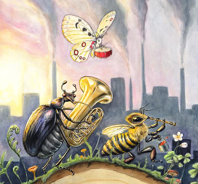 Målade insekter som spatserar och spelar på instrument. Foto.