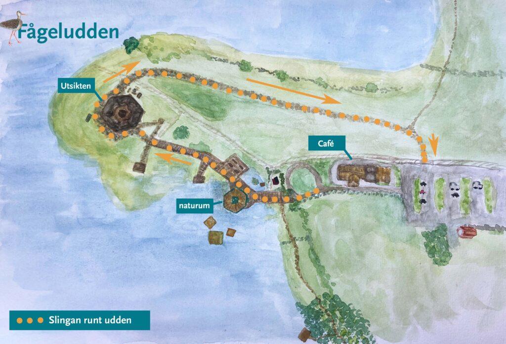 Map over Fågeludden. Illustration.