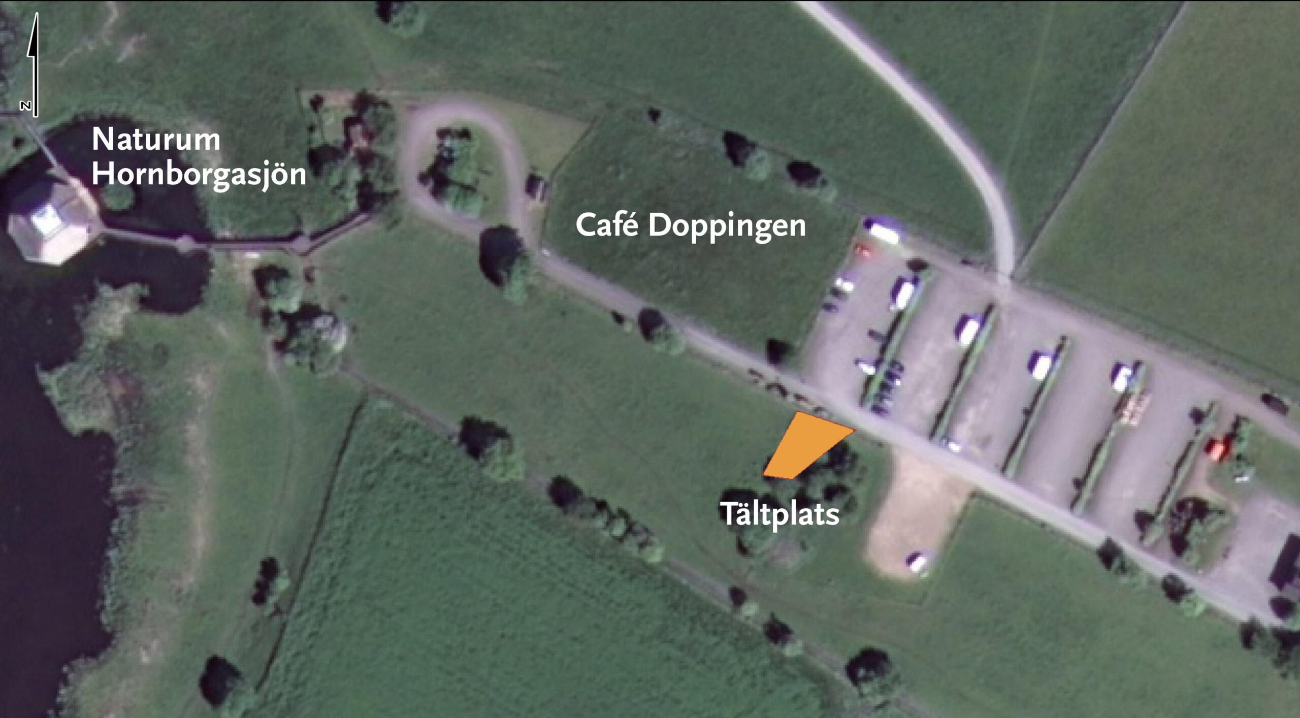 Karta över tältplatsen vid Fågeludden. Foto.