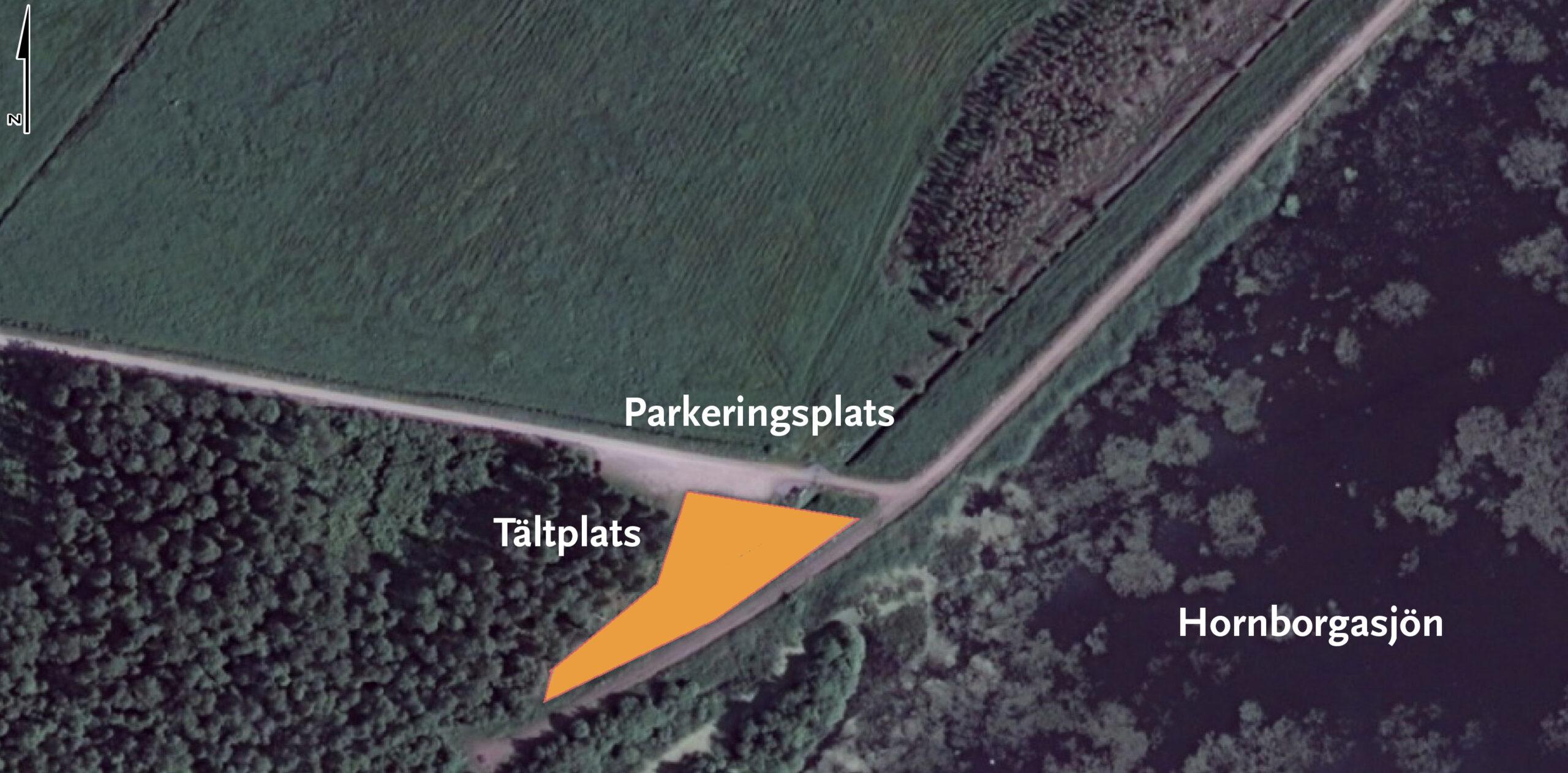 Tältplatsen vid Utloppet ligger i närheten av parkeringen. Kartvy.